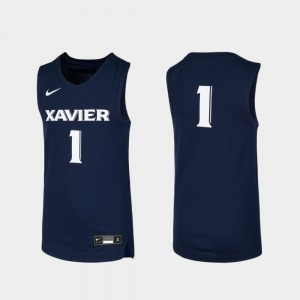 Youth(Kids) Xavier Musketeers #1 Navy Replica Basketball Jersey 830627-356